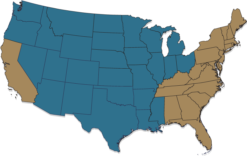 Map for States where Rose Waldorf Defends Product Warranties